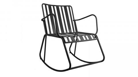 Rocking chair de jardin en métal noir mat - Collection Lines - Leitmotiv