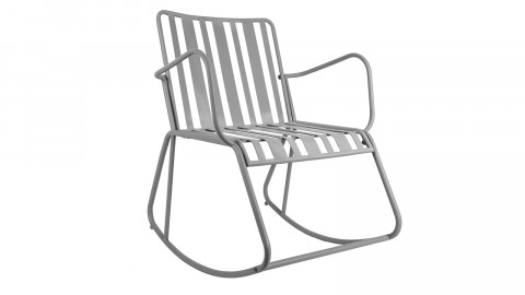 Rocking chair de jardin en métal gris - Collection Lines - Leitmotiv