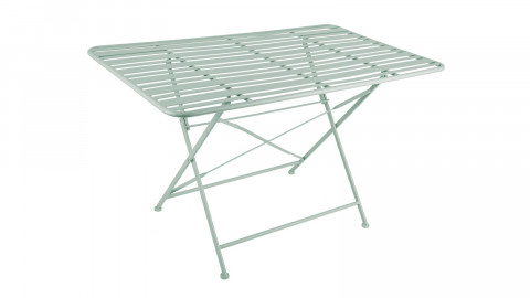Table de jardin pliable en métal vert jade - Collection Lines - Leitmotiv