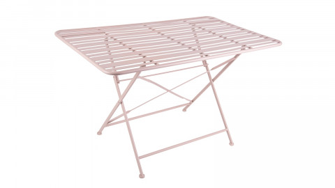 Table de jardin pliable en métal rose - Collection Lines - Leitmotiv