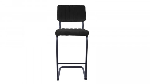 Tabouret de bar en velours noir avec dossier - Collection Keen - Leitmotiv