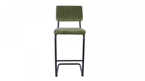 Tabouret de bar en velours vert gazon avec dossier - Collection Keen - Leitmotiv