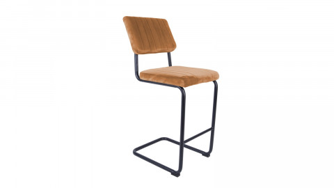 Tabouret de bar en velours orange avec dossier - Collection Keen - Leitmotiv