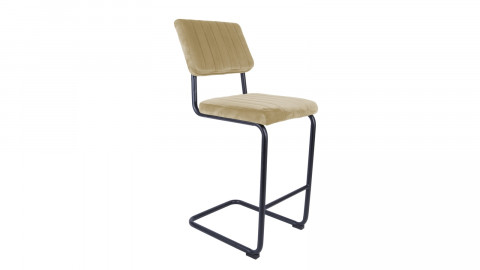 Tabouret de bar en velours beige avec dossier - Collection Keen - Leitmotiv