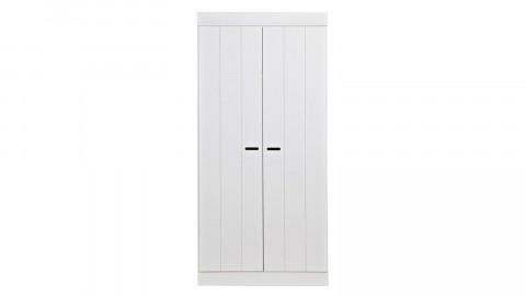 Armoire 2 portes en pin massif blanc - Collection Connect