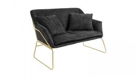 Petit canapé en velours côtelé noir piètement doré - Collection Glam - Leitmotiv