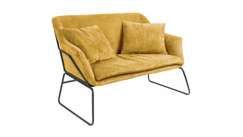Petit canapé en velours côtelé jaune piètement doré - Collection Glam - Leitmotiv