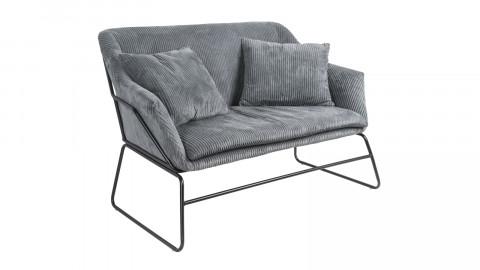 Petit canapé en velours côtelé gris piètement noir - Collection Glam - Leitmotiv
