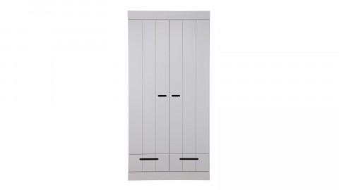 Armoire 2 portes et 2 tiroirs, pin massif béton gris - Collection Connect