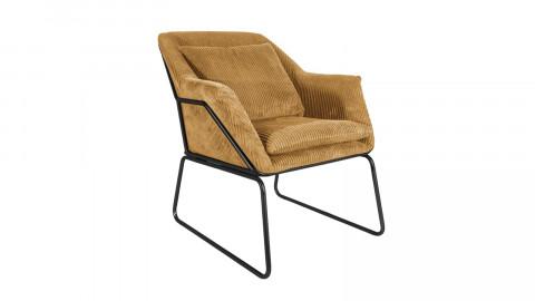 Fauteuil en velours marron piètement noir - Collection Glam - Leitmotiv