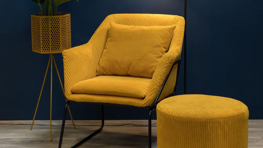 Fauteuil en velours jaune piètement noir - Collection Glam - Leitmotiv
