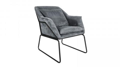 Fauteuil en velours gris piètement noir - Collection Glam - Leitmotiv