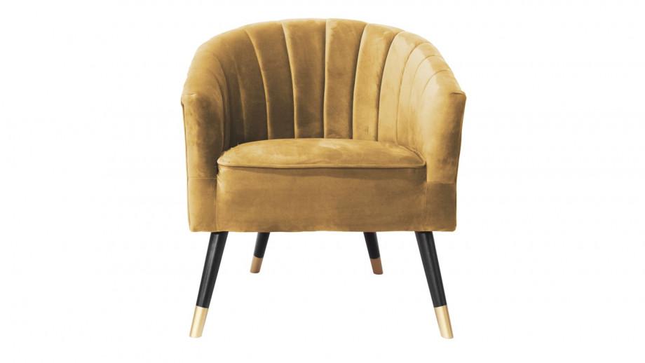 Fauteuil en velours jaune - Collection Royal - Leitmotiv