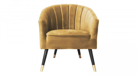 Fauteuil en velours jaune - Collection Royal - Leitmotiv