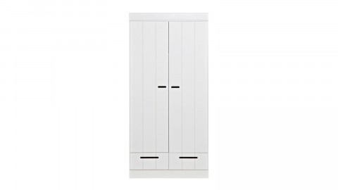Armoire 2 portes et 2 tiroirs en pin massif blanc - Collection Connect - Woood