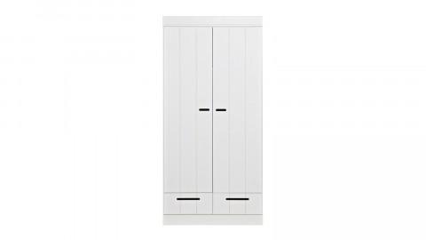 Armoire 2 portes et 2 tiroirs en pin massif blanc - Collection Connect