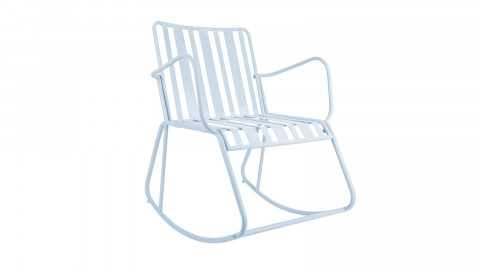 Rocking chair de jardin en métal bleu ciel - Collection Lines - Leitmotiv