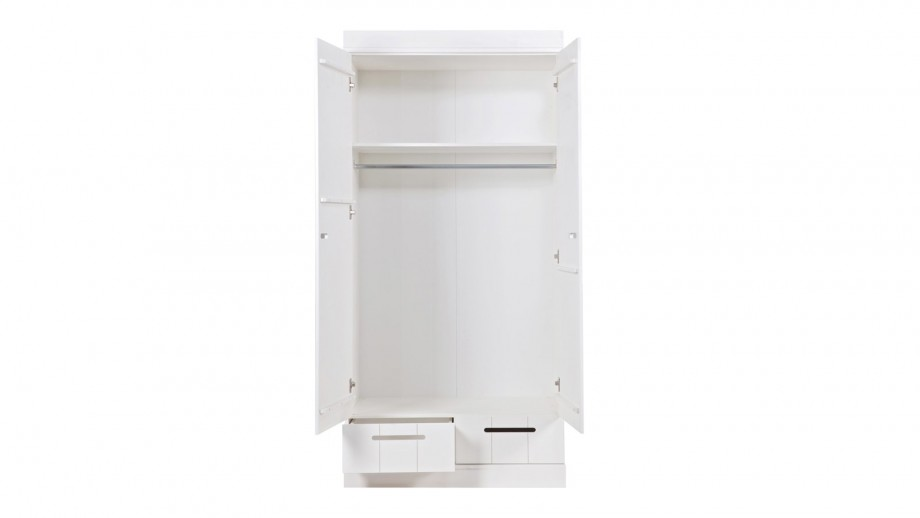 Connect Armoire 2 Portes + Poignees + Tiroirs Blanc