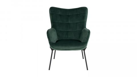 Fauteuil en velours vert piètement en métal noir - Collection Glasgow