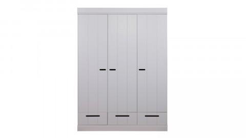 Armoire 3 portes, 3 tiroirs et 5 étagères en pin massif béton gris - Collection Connect - Woood