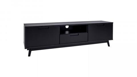 Meuble TV bas 2 portes 1 tiroir en bois noir - Collection Copenhagen