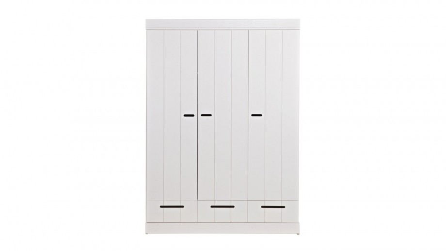 armoire 3 portes 3 tiroirs et 5 tag res en pin massif blanc collection connect woood homifab. Black Bedroom Furniture Sets. Home Design Ideas