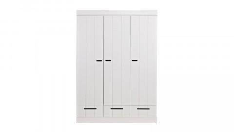 Armoire 3 portes, 3 tiroirs et 5 étagères en pin massif blanc - Collection Connect