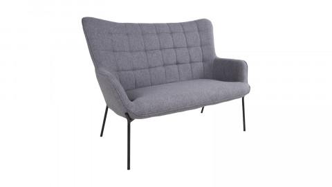 Canapé 2 places en tissu gris piètement en métal noir - Collection Glasgow
