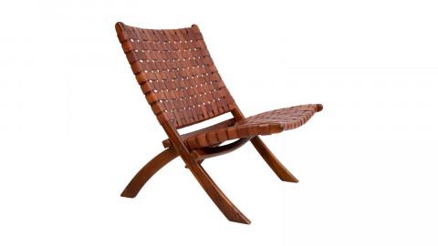 Fauteuil en bois et cuir marron - Collection Perugia