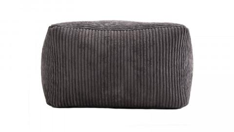 Pouf carré en velours côtelé gris anthracite - Collection Agathe