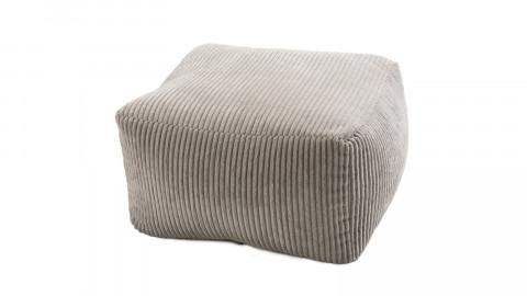 Pouf carré en velours côtelé gris perle - Collection Agathe