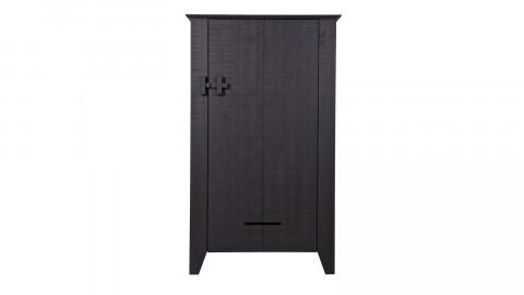 Armoire 1 porte et 3 planches de rangement en pin massif noir - Collection Giijs - Woood
