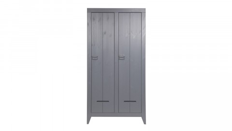 Armoire 2 portes et 8 planches de rangement en pin massif gris anthracite - Collection Kluis - Woood