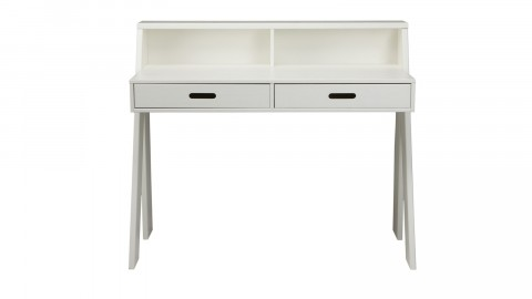 Bureau 2 tiroirs en pin massif blanc - Collection Max