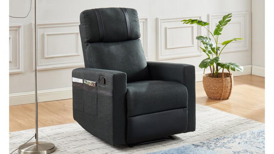 Fauteuil relax manuel en tissu anthracite et simili cuir noir mat - Collection Gillian