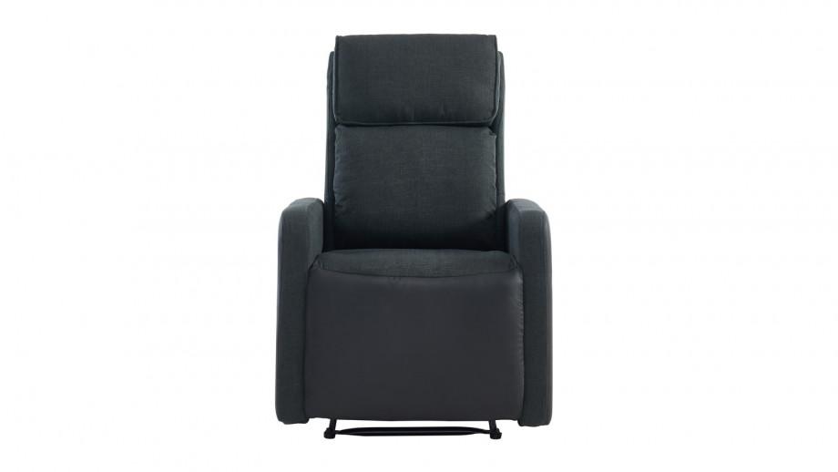 Fauteuil relax manuel en tissu anthracite et simili cuir noir mat - Collection Côme