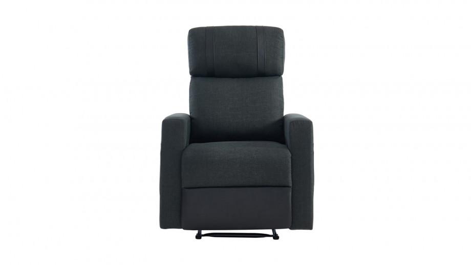 Fauteuil relax électrique en tissu anthracite et simili cuir noir mat - Collection Gillian