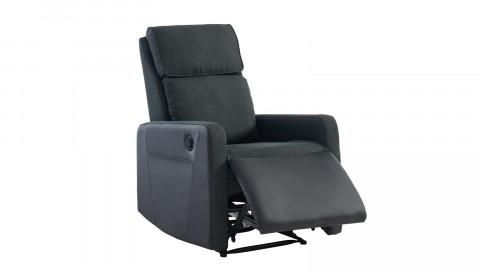 Fauteuil relax électrique en tissu anthracite et simili cuir noir mat - Collection Côme