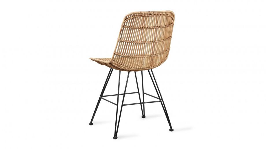 Chaise en rotin naturel piètement métal noir - HK Living