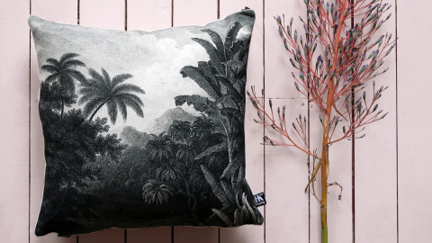 Coussin 45x45cm en tissu imprimé jungle - Hk Living