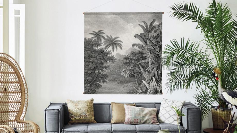 Poster mural noir et blanc jungle - Hk Living