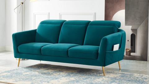 Canapé droit 3 places en velours bleu canard piètement en métal doré - Collection Luna