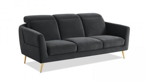 Canapé droit 3 places en velours gris piètement en métal doré - Collection Luna