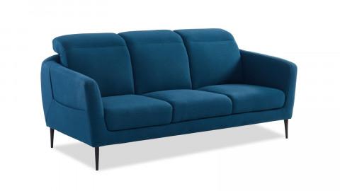 Canapé droit 3 places en tissu bleu canard piètement en métal noir - Collection Luna