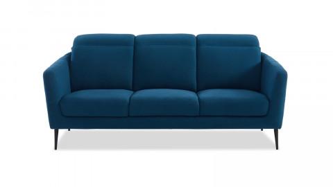 Canapé scandinave 3 places en tissu bleu canard avec têtières relevables et piètement en métal noir - Collection Luna