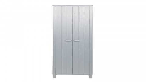 Armoire 2 portes en pin massif béton gris - Collection Dennis - Woood