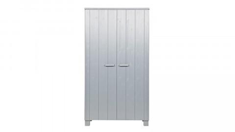 Armoire 2 portes en pin massif béton gris - Collection Dennis