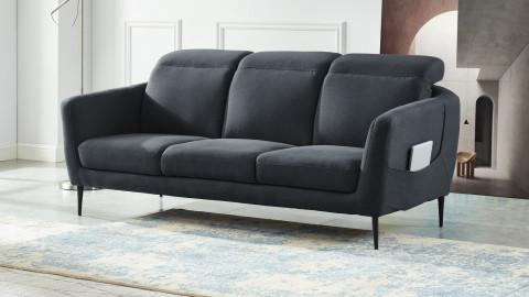 Canapé droit 3 places en tissu gris piètement en métal noir - Collection Luna
