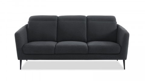 Canapé scandinave 3 places en tissu gris avec têtières relevables et piètement en métal noir - Collection Luna