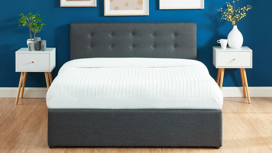 Lit coffre 140x190 en tissu gris anthracite avec tête de lit et sommier à lattes - Collection Tina